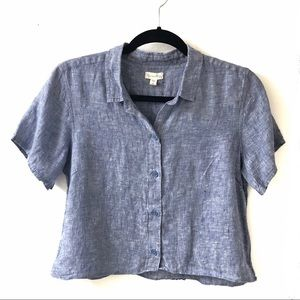 Linen Cropped Short Sleeve Button Front Top
